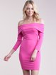Hot Pink Solid Long Sleeve Off Shoulder Bodycon Party Dress