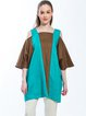 Brown-teal Cold Shoulder Square Neck Color-block Tunic