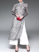 Gray Floral-print Stand Collar Floral Elegant Maxi Dress