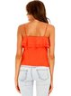 Orange Spaghetti Ruffled Solid Cotton-blend Tank And Cami