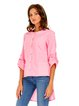Cotton Crew Neck High Low Long Sleeve Blouse