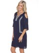 Navy Blue Embroidered V Neck Cold Shoulder Holiday Dress