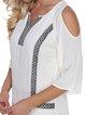 White Shift Embroidered Boho V Neck Gauzy Holiday Dress