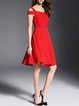 Red Cold Shoulder Short Sleeve Party Dress