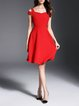 A-line V Neck Elegant Solid Cold Shoulder Party Dress