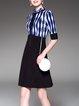 Ruffled Casual Color-block Printed Abstract Midi Dress