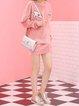 Pink PU Sweet Bow Twist Lock Crossbody Bag