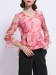 Frill Sleeve Floral-print Silk Girly V Neck Blouse