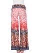 Red Printed Boho H-line Rayon Wide Leg Pants