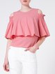 Girly Crew Neck Ruffle Frill Sleeve Cold Shoulder Blouse