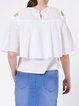 Cold Shoulder Cutout Frill Sleeve Crew Neck Solid Girly Blouse