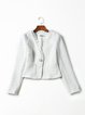 V Neck Ruffled Pockets Casual Long Sleeve Cropped Jacket