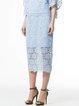 Light Blue Guipure Lace Elegant Floral Sheath Midi Skirt