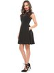 Black A-line Paneled Crew Neck Sleeveless Party Dress