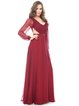 Marsala Elegant Solid Ruched Ball Gown Long Sleeve Silk Evening Dress