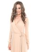 Cream Long Sleeve Paneled Surplice Neck Solid Silk Gown  Evening Dress