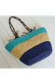 Large Resort Zipper Color-block Braided Straw Tote