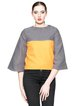 Color-block Crew Neck Casual 3/4 Sleeve Cropped Top