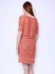 Orange Plain Half Sleeve H-line Simple Crew Neck Midi Dress