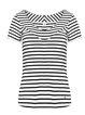 Black-white V Neck Stripes Paneled Basic Tops