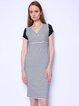 Black-white V Neck Short Sleeve Midi Dress