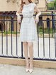 White Peter Pan Collar Checkered/Plaid Short Sleeve Buttoned Midi Dress
