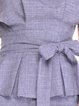 Plus Size Lavender Solid Shorts Sleeve Boat Neck Blouse with Belt