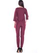 Solid Simple Zipper 3/4 Sleeve Two Piece Work Jumpsuit