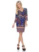 Royal-burgundy 3/4 Sleeve Abstract Printed Sheath Midi Dress