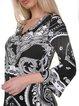 Black-white Abstract 3/4 Bell Sleeve Mini Dress