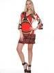 Red-brown Abstract 3/4 Bell Sleeve Mini Dress