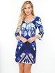 Purple Abstract Printed V Neck Sheath Mini Dress