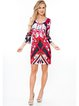 Fuchsia Abstract Printed V Neck Sheath Mini Dress