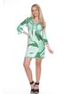 Green Printed 3/4 Sleeve Sheath V Neck Mini Dress