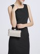 Solid Clasp Lock Evening Clutch with Gold-tone Hardware
