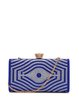 Royal Blue Rhinestone Evening Snap Clutch with Gold-tone Hardware