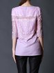Pink Casual See-through Look Half Sleeved Top with Rhinestone