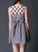 Black-white Crew Neck Polka Dots Stripes A-line Mini Dress