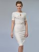 Keyhole Short Sleeve Sheath Solid Midi Dress with Belt