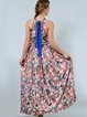 Multicolor Pleated Halter Floral Printed Maxi Dress