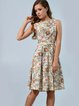 Multicolor Casual Floral Paneled A-line Midi Dress with Belt