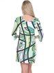 Green-white 3/4 Bell Sleeve Genevieve Mini Dress