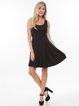 Black Solid Crew Neck Sleeveless Mini Dress