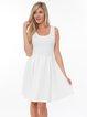 Ivory Solid Crew Neck Sleeveless Mini Dress