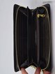 Black Retro Full-grain Leather Embossed Printed Zipper Wallet
