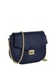 Navy Blue Casual Fold-over Flat Top PU Crossbody Bag