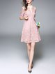 Casual A-line Short Sleeve Shirt Collar Lace Midi Dress