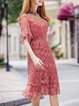 Red Half Bell Sleeve Mesh Paneled A-line Midi Dress