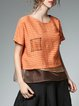 Orange Silk-blend Asymmetric Short Sleeve Crew Neck Tops