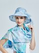 Light Blue Resort Printed Silk Hat with Bowknot